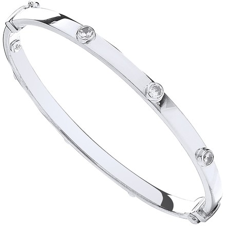 Selling: W/G Hollow Oval Baby Cz Bangle