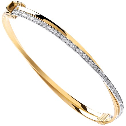 Selling: Y/G X Over Cz Ladies Bangle