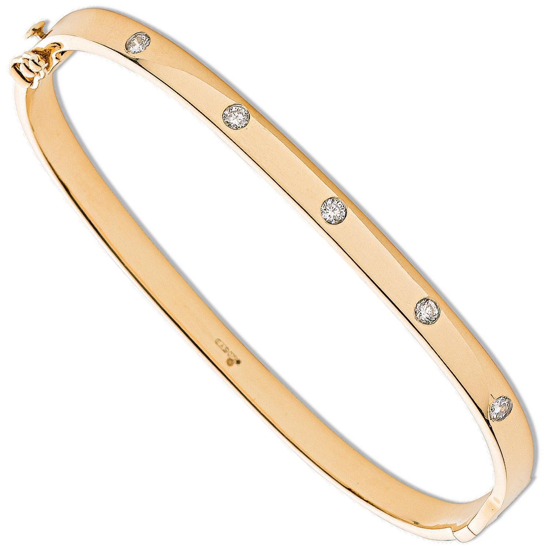 9ct Yellow Gold 0.20ct 5 Stone Diamond Bangle