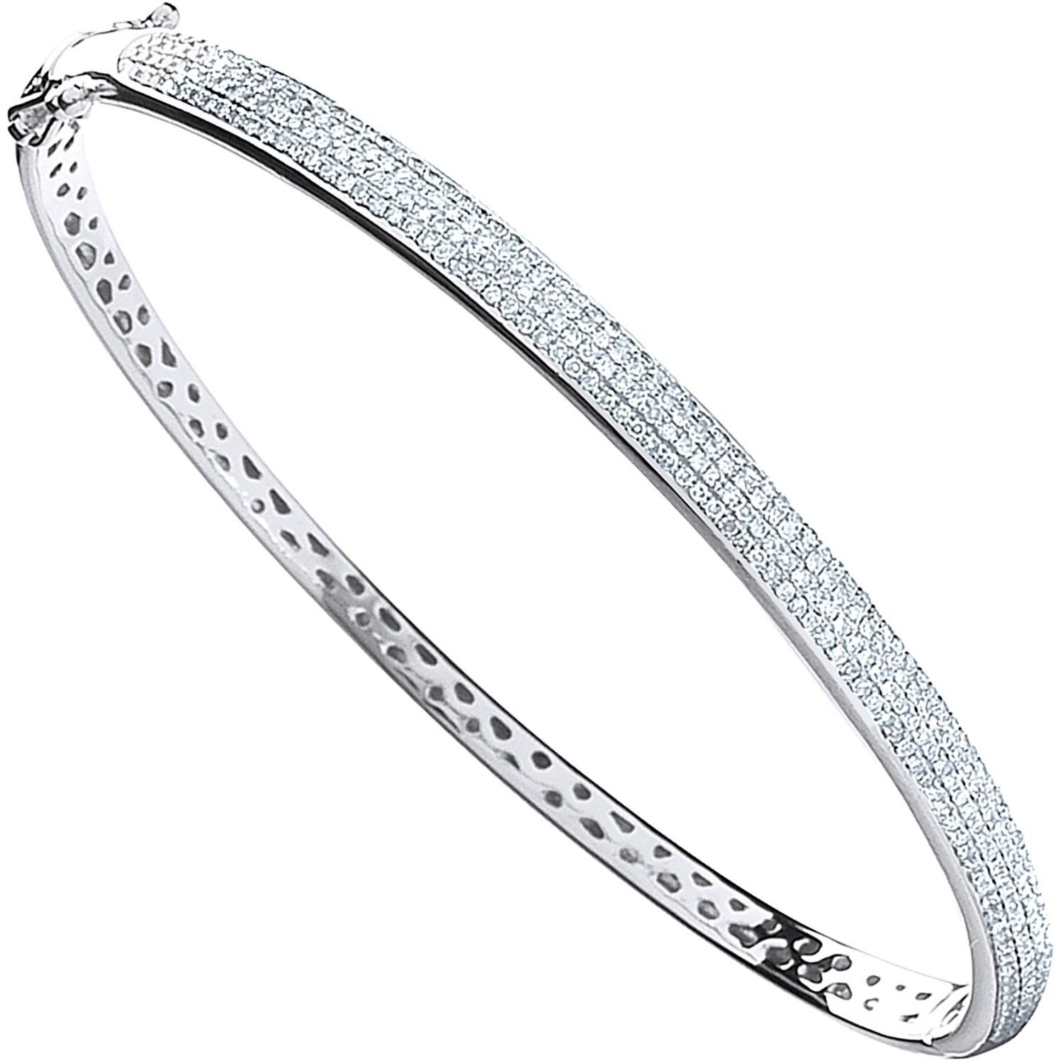 9ct White Gold 0.86ctw Pave Set Diamond Bangle