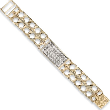 Y/G Plain & Bark Casted Curb Baby Cz ID Bracelet