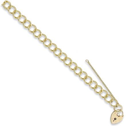 Y/G Open Curb & Padlock Charm Bracelet