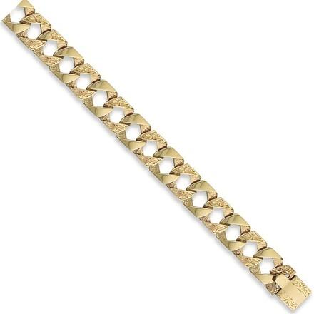 Y/G Plain & Patterned Casted Curb Bracelet