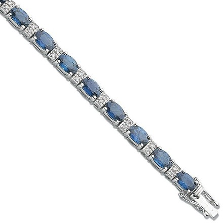 Selling: 18ct White Gold 0.22ct Diamond & 7.5ct Blue Sapphire Bracelet