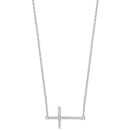 "Selling: Silver Cz Sideways Cross Pendant 16"" Necklace with extention"