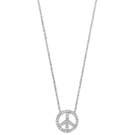 Selling: Silver Cz Peace Sign Pendant Necklace