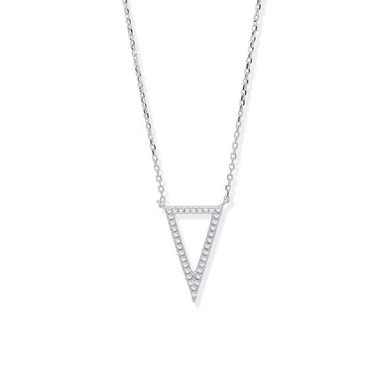 Selling: Silver Upside Down Cz Triangle Necklace