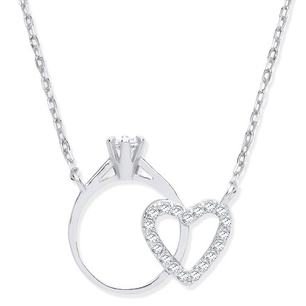 Selling: Silver Chain with Little CZ Engagement Ring & Heart