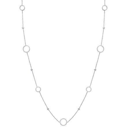 "Selling: Silver Cz Circle of Life 36"" (91cm) Necklace"