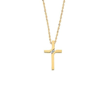 Selling: 9ct Yellow Gold 0.04ct Diamond Cross Pendant with 18in/45cm Chain