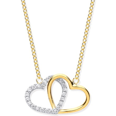 """Selling: Y/G Plain and CZ Joined Hearts Pendant on 18"""" Chain"""