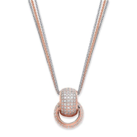 Selling: Silver & Rose Coated Interlocking Cz Circles Necklace