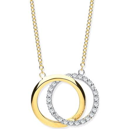 "Selling: Y/G Plain & CZs Circles Pendant on 18"" Chain"