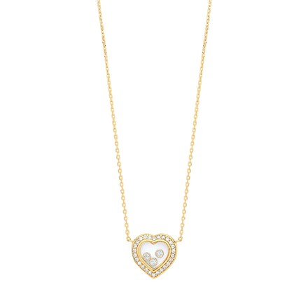 """Selling: Y/G Floating CZs Heart Pendant Necklace 16"""" + 2"""""""
