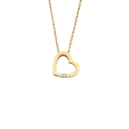 Selling: 9ct Yellow Gold 0.04ct Diamond Heart Pendant with 18in/45cm Chain