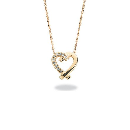 Selling: 9ct Yellow Gold 0.05ct Diamond Heart Pendant with 18in/45cm Chain