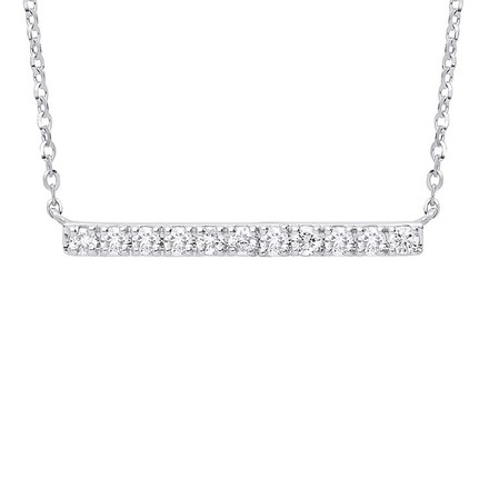 Selling: 9ct White Gold 0.20ct Diamond Bar Necklace