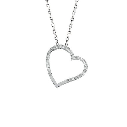 9ct White Gold 0.12ct Diamond Heart Pendant with 18in/45cm Chain