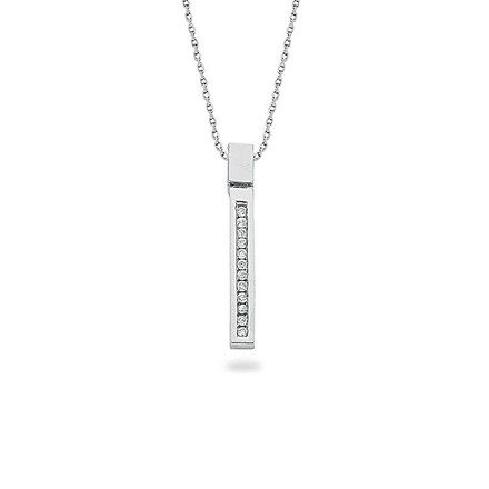 9ct White Gold 0.12ct Diamond Drop Pendant with 18in/45cm Chain