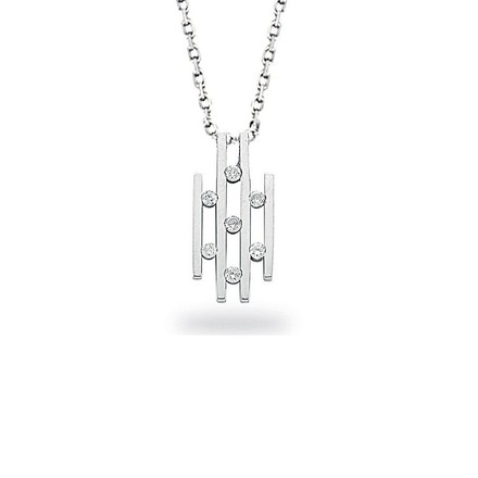 Selling: 9ct White Gold 0.20ct Diamond Drop Pendant with 18in/45cm Chain