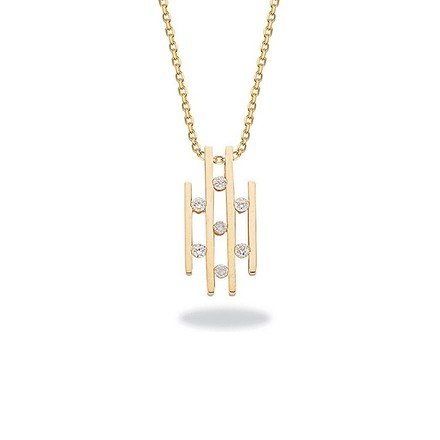 Selling: 9ct Yellow Gold 0.23ct Diamond Drop Pendant with 18in/45cm Chain
