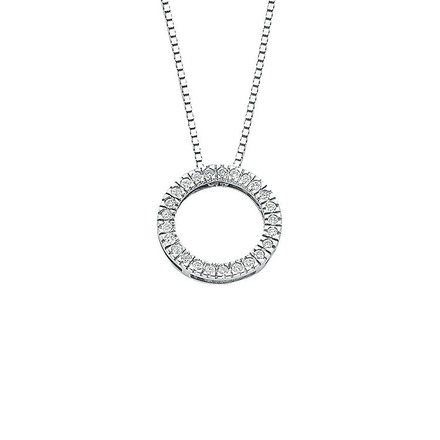 Selling: 9ct White Gold 0.25ct Diamond Circle Pendant with 18in/45cm Chain