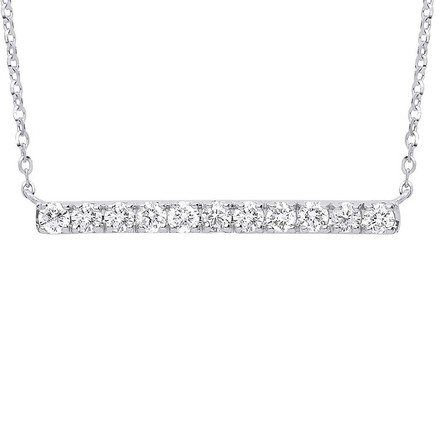 Selling: 9ct White Gold 0.33ct Diamond Bar Necklace