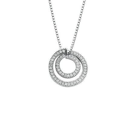 Selling: 9ct White Gold 0.31ct Diamond Circle Pendant with 18in/45cm Chain