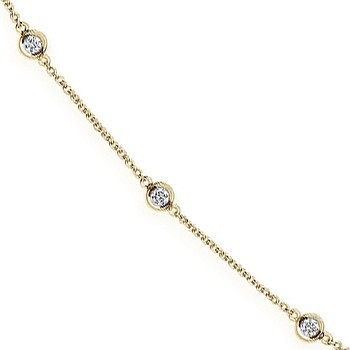 18ct Yellow Gold 1.00ct Diamond by the yard Necklace 18inch