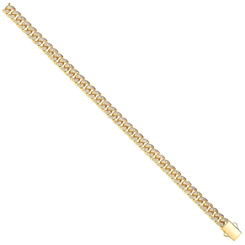 Y/G Cuban Curb 8.0mm Link with CZs Bracelet/Chain