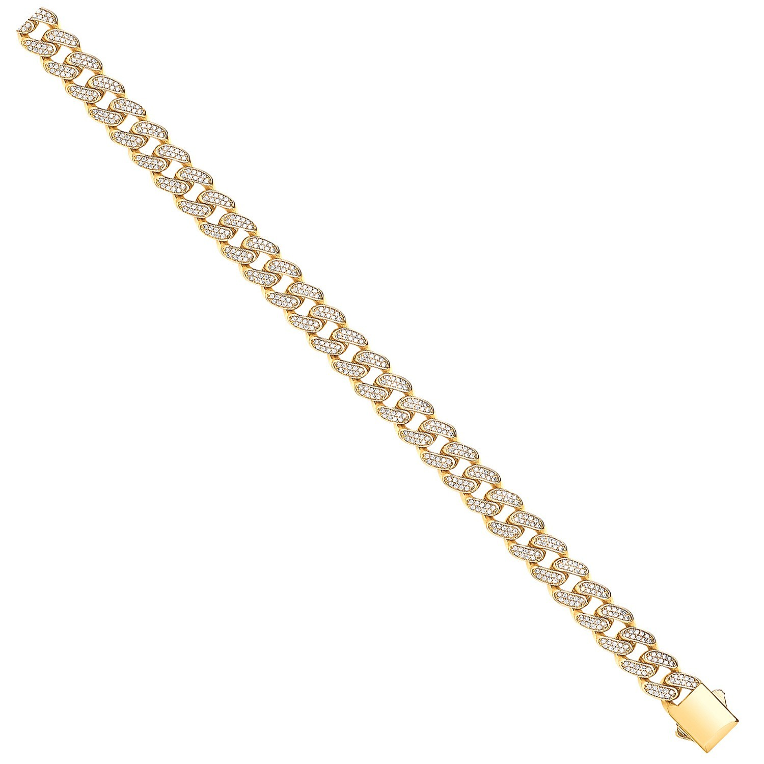 Y/G Cuban Curb 10.0mm Link with CZs Bracelet/Chain