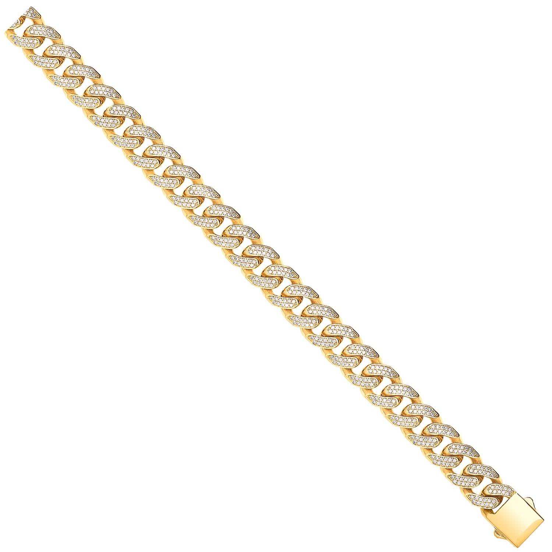 Y/G Cuban Curb 12.0mm Link with CZs Bracelet/Chain