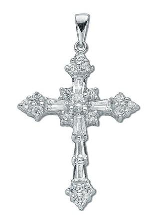 Selling: Silver Fancy Baguette Cut Cz Cross