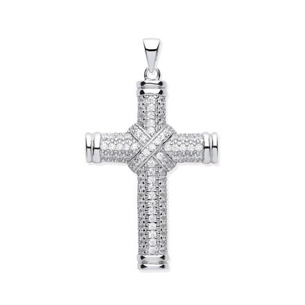 Selling: Silver Fancy Cz Kiss Cross