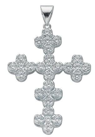 Selling: Silver Fancy Cluster Cz Cross