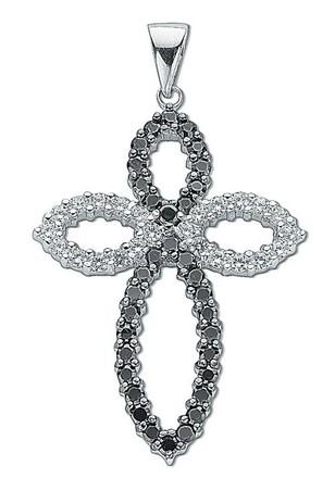 Selling: Silver Black & White Fancy Cz Cross