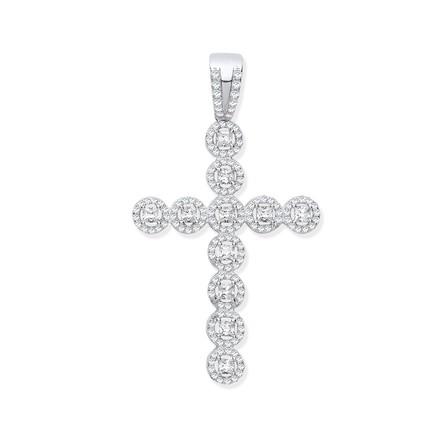 Selling: Silver CZ Halo Style Fancy Cross