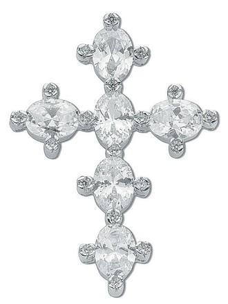 Selling: Silver Oval Shaped Cz Cross