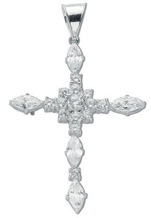 Selling: Silver Fancy Marquise Cut Cz Cross