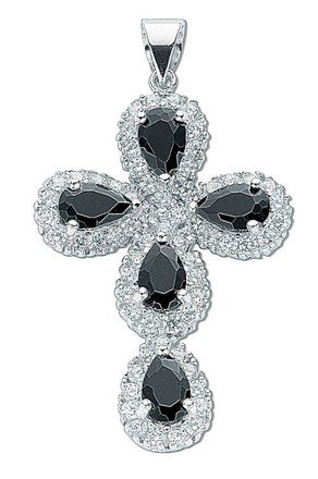 Selling: Silver Black & White Fancy Cz Cross