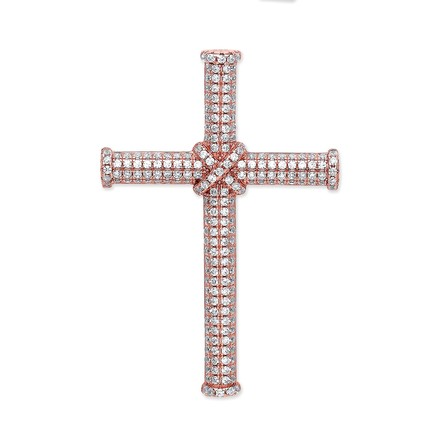 Selling: Silver Rose Coated Micro' Pave Cz Cross