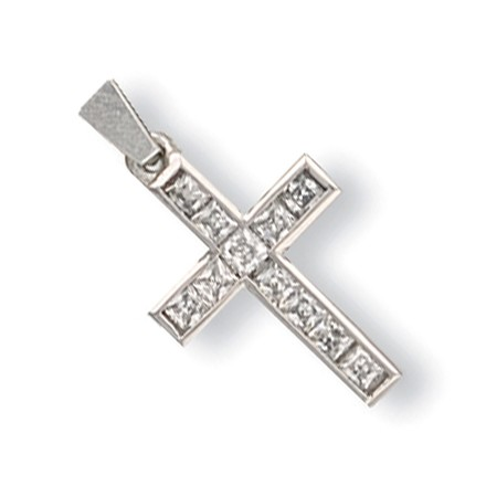 Selling: W/G Princess Cut Cz Cross