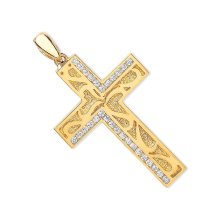 Y/G Cz Cross with Design