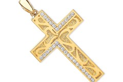 Selling: Y/G Cz Cross with Design