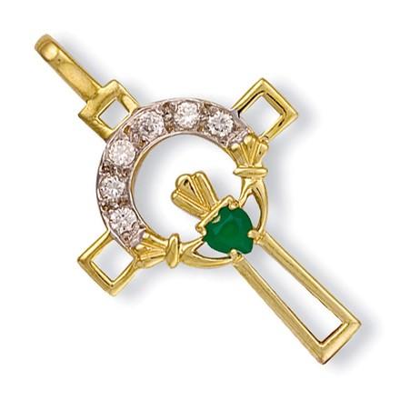 Y/G Cz Claddagh Cross