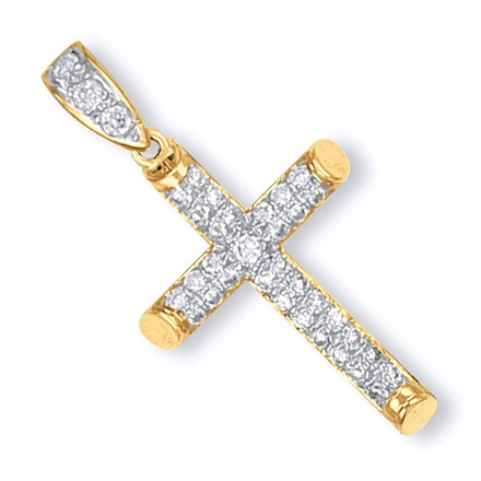 Selling: Y/G Round Tubed Cz Cross