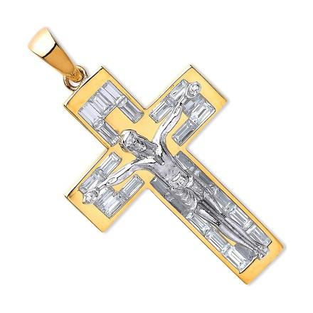 Y & WG Cz Baguettes Crucifix