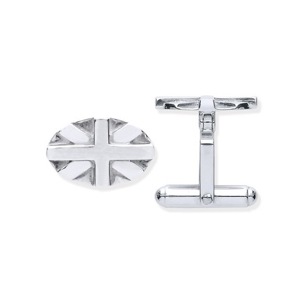 Selling: Silver Union Jack Oval Cufflinks