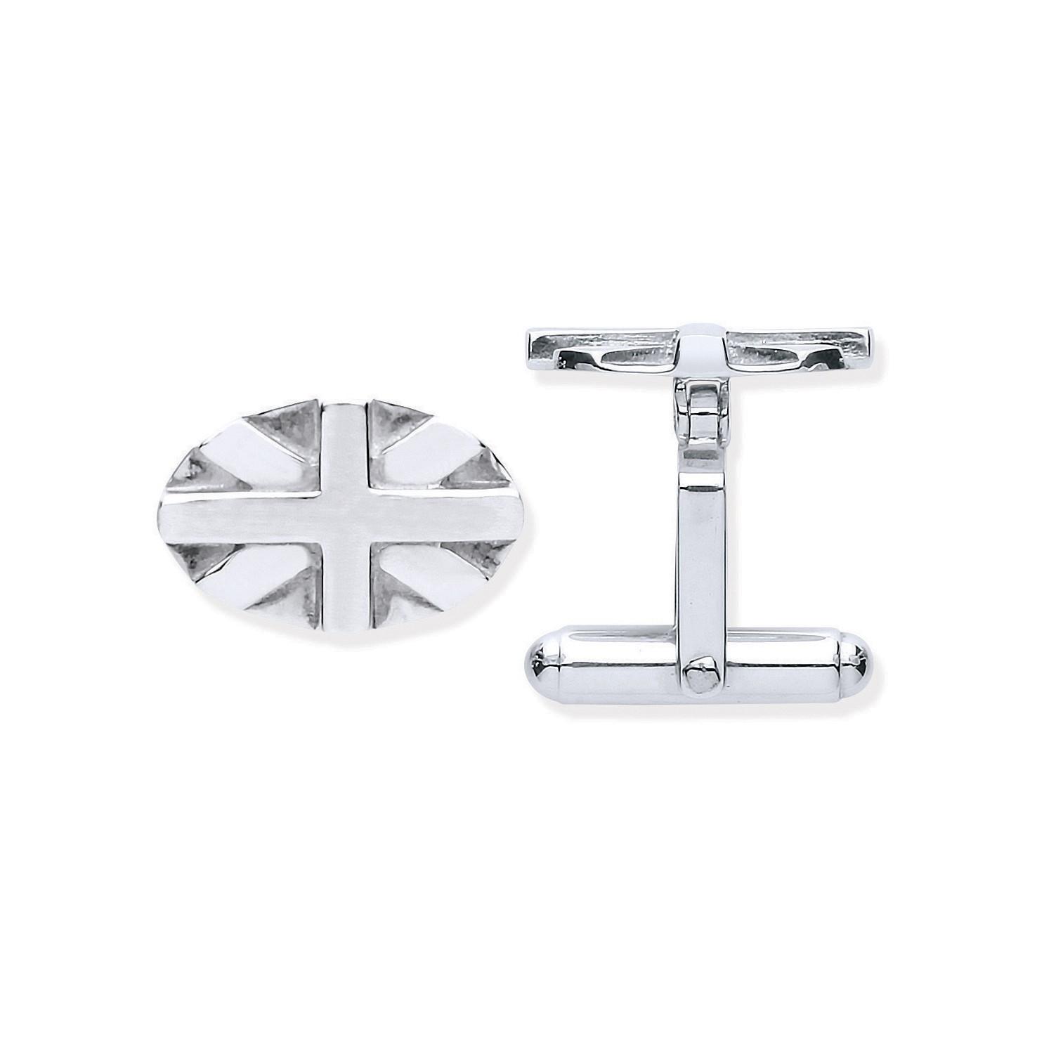 Silver Union Jack Oval Cufflinks
