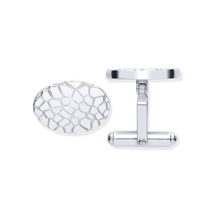 Selling: Silver Crocodile Skin Oval Cufflinks